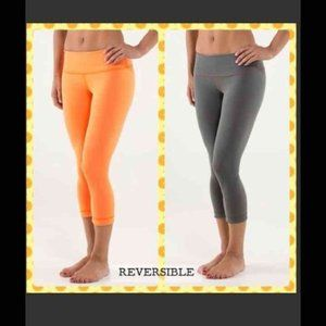 Lululemon Reversible Wunder under Crop Orange Gray